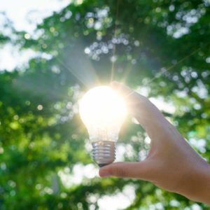 Woman hands holding light bulb with solar energy or thermal energy concept